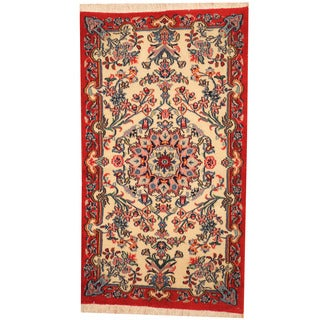 Herat Oriental Persian Hand-knotted Qum Wool Rug (2'4 x 4'3)