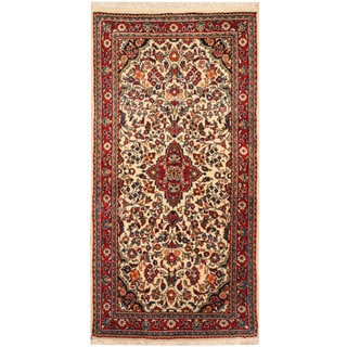 Herat Oriental Persian Hand-knotted Sarouk Wool Rug (2'1 x 4'2)