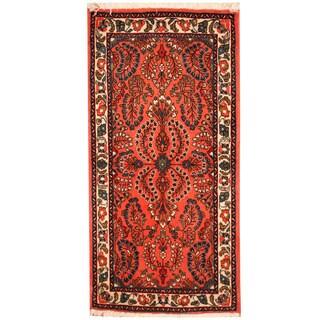 Herat Oriental Persian Hand-knotted Sarouk Wool Rug (2'2 x 4'4)