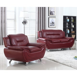 Modern Faux Leather Loveseat and Chair Set- 2 Pieces