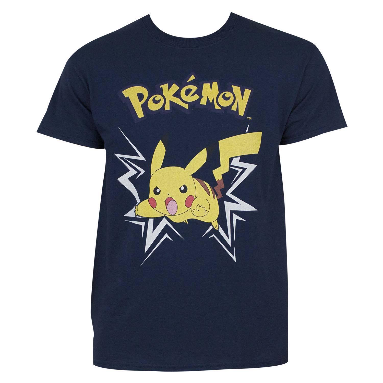 Pokemon Pikachu Charging Up T-Shirt (XL), Men's, Blue (co...