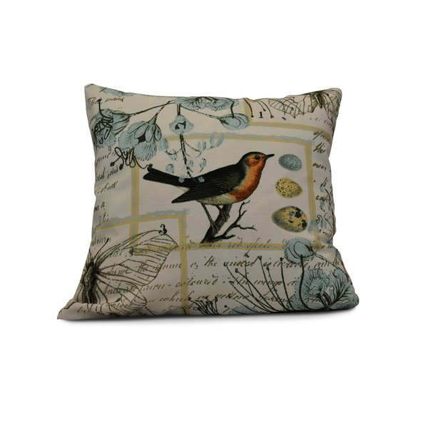 E by Design 20-inch Sweet Tweets Holiday Floral Print Pillow