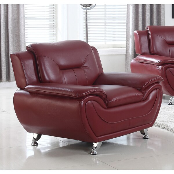 Shop Brown Red Faux Leather And Solid Wood Modern Lounge
