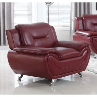 Brown/Red Faux Leather and Solid Wood Modern Lounge Arm Chair