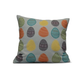 E by Design 20-inch Eggs-ellent Holiday Geometric Print Pillow
