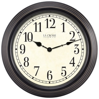 La Crosse Clock 15-inch Round Brown Antique Analog Wall Clock