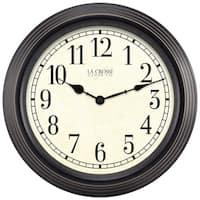 La Crosse Clock 404-2638 15 Inch Round Brown Antique Analog Wall Clock