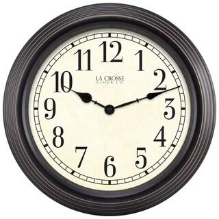 La Crosse Clock 15-inch Round Brown Antique Analog Wall Clock