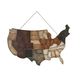 Multicolored Wood Decorative Rustic USA Wall Art Plaque