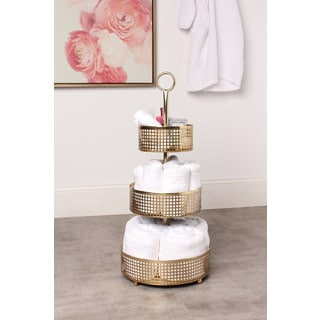 Violetta Gold Metal 3-Tiered Tray Baskets