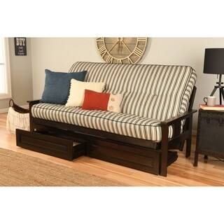 Somette Beli Mont Black/Off-white Hardwood and Polyester Futon Set with Cozumel Navy Mattress and Storage Option