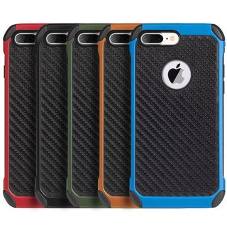 Black Tough Hybrid Case with Carbon Fiber Finish for Apple iPhone 7 Plus