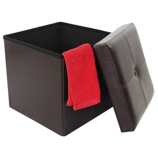 Brown Faux Leather 15-inch Collapsible Storage Ottoman