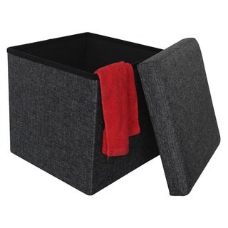 Grey Fabric 15-inch Collapsible Storage Ottoman