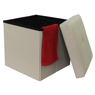 Wee's Beyond Ivory Faux Suede 15-inch Collapsible Storage Ottoman