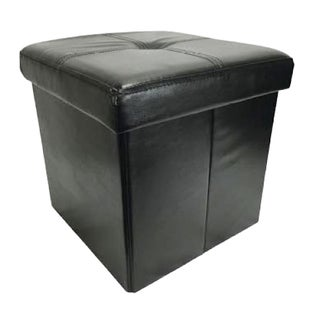 Wee's Beyond Black Faux-leather 15-inch Collapsible Storage Ottoman