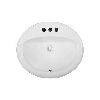 White-finish Vitreous China Clay 19-inch x 17-inch Oval Bathroom Sink