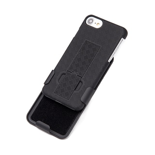 Black PC Apple Iphone 7 Snap-on Case with Holster Combo