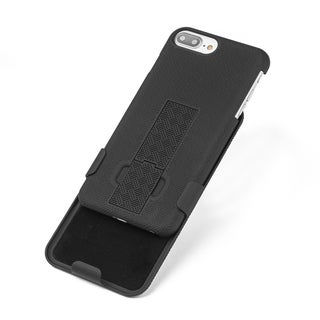 Black Polycarbonate Snap-on Case With Holster for Apple iPhone 7 Plus