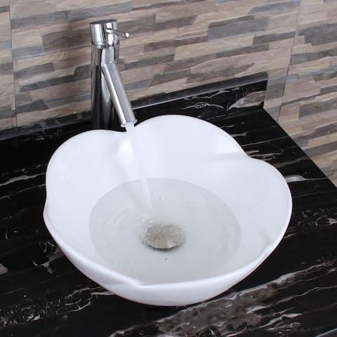 ELIMAX'S 301+2659 Lotus Round Shape White Porcelain Ceramic Bathroom Vessel Sink With Faucet Combo