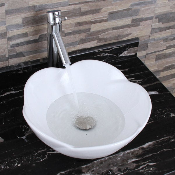 ELIMAX'S 301+2659 Lotus Round Shape White Porcelain Ceramic Bathroom Vessel Sink with Faucet Combo. Opens flyout.