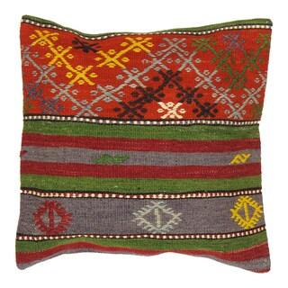 Pasargad Multicolor Wool 19-inch Vintage Kilim Accent Pillow