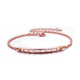 Collette Z Rose Overlay White Chalcedony Cubic Zirconia Bracelet - Pink