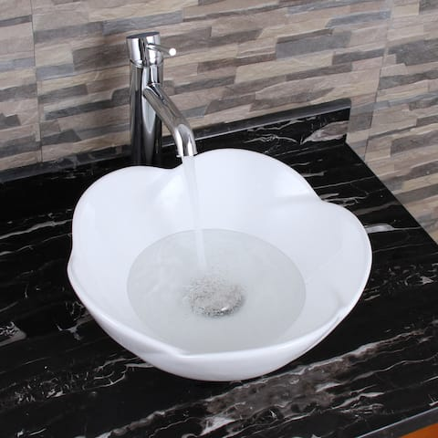 ELIMAX'S 301+F371023 Lotus Round Shape White Porcelain Ceramic Bathroom Vessel Sink With Faucet Combo