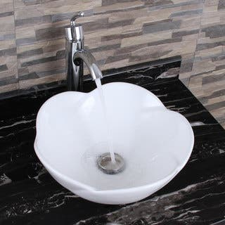 ELIMAX'S 301 +882002 Lotus Round Shape White Porcelain Ceramic Bathroom Vessel Sink and Faucet Combo (Option: White Finish)|https://ak1.ostkcdn.com/images/products/12857347/P19619925.jpg?impolicy=medium