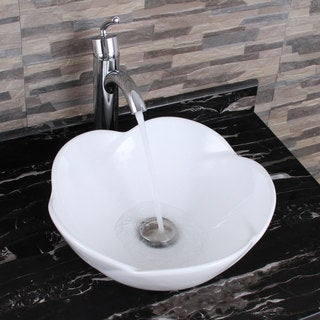 ELIMAX'S 301 +882002 Lotus Round Shape White Porcelain Ceramic Bathroom Vessel Sink and Faucet Combo