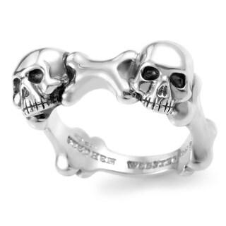 Stephen Webster Men's Sterling Silver Skull and Bones Band Ring