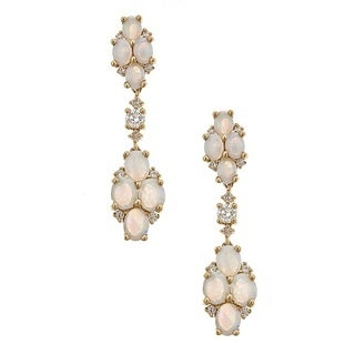 Anika and August 14k Yellow Gold Australian Opal and 1/4ct TDW Diamond Earrings (G-H, I1-I2)