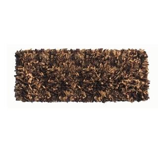 Hand Knotted Brown Leather Shaggy Indoor Area Rug (2 x 7.6)