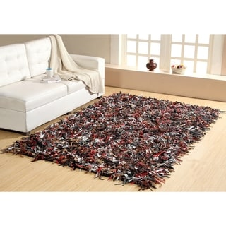 Multicolor Cotton /Leather Hand-knotted Indoor Shag Area Rug (5' x 8')