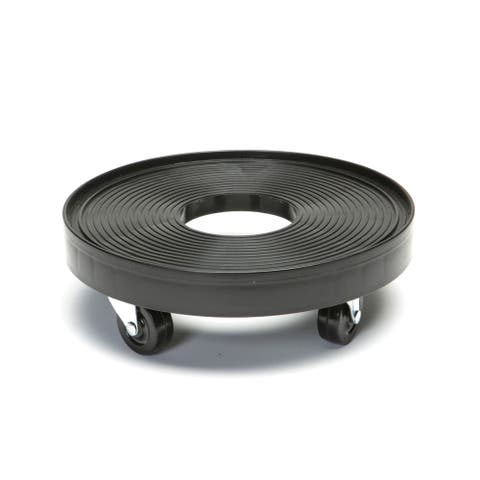 Black Plastic 12-inch Plant Dolly with Hole