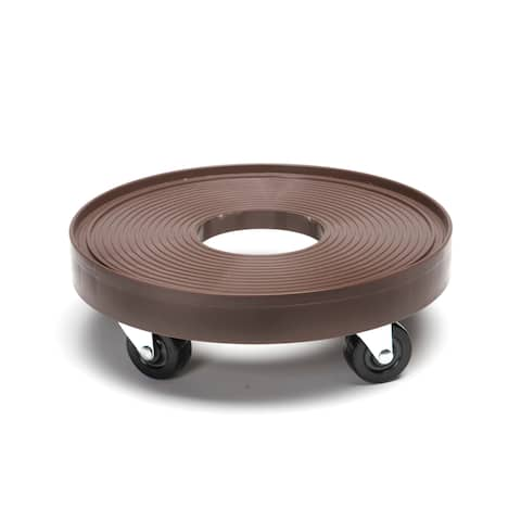 Espresso Plastic 12-inch Plant Dolly with Hole