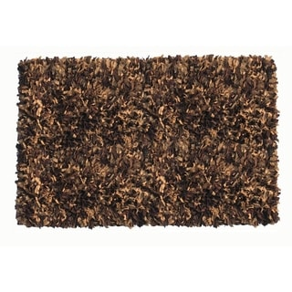 Brown/Tan Leather and Cotton Hand-knotted Indoor Shag Area Rug (5' x 8')