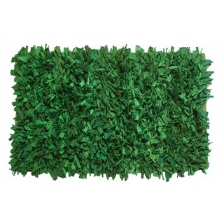 Jersey Green Cotton Hand-knotted Indoor Accent Shag Rug (2' x 3')
