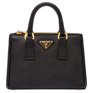 Prada Galleria Small Black Saffiano Leather Satchel Handbag