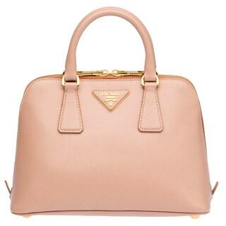 Prada Top Handle Peach Saffiano Leather Satchel Handbag