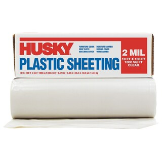 Husky RS210-100C 10' X 100' 2 ML Opaque Plastic Sheeting