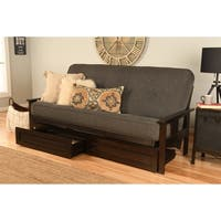 Somette Beli Mont Espresso Finish Futon Set with Linen Mattress and Storage Drawers
