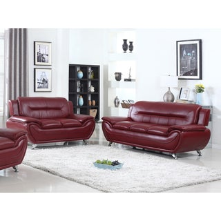 Alice Faux Leather Modern Sofa and Loveseat Set- 2 Piece