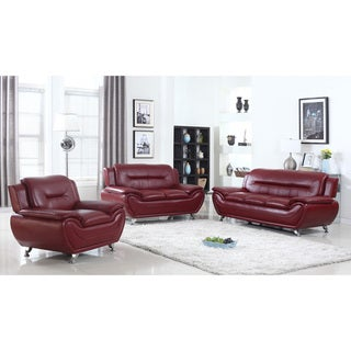 Alice Faux Leather Modern Living Room set- 3 Piece