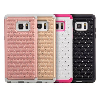 Samsung Galaxy Note 7 Black PC Hybrid Studded Diamond Skin Case