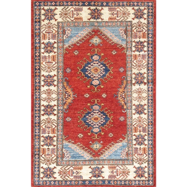 Shop Pasargad Kazak Red/Ivory Lamb's Wool Hand-knotted