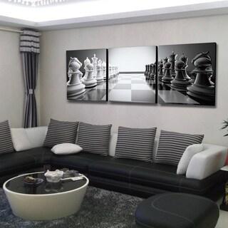Furinno SENIK 'Chess' 72-inch x 24-inch 3-Panel MDF Framed Photography Triptych Print