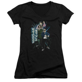 Three Stooges/Stooge Style Junior V-Neck in Black