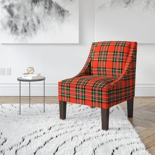Skyline Furniture Ancient Stewart Red Plaid Slipper Accent Chair