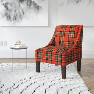 Skyline Furniture Ancient Red Plaid Slipper Accent Chair